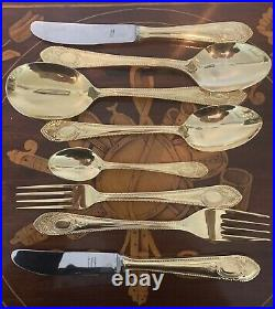 136 Piece Rostfrei Solingen 24 Carat Gold Plated Complete Cutlery Set For 12