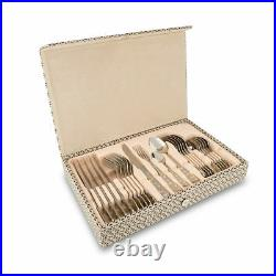 24 Piece Deluxe Stainless. S. Sliver& Gold Cutlery Set in Wooden Box Family D