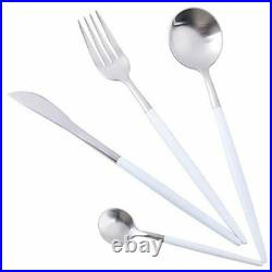 24 Piece White and Silver Cutlery Set in 18/10 Stainless Steel
