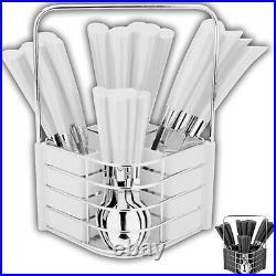 24pc Cutlery Dinner Set Drainer Stand Forks Teaspoons Tea Spoons Metal New Rack