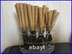 24pc Steel Dinning Kitchen Tableware Cutlery Set Stand Spoons Knives Wood Effect