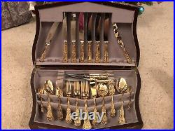6 Setting 24 Carat Gold Plated Queens Cutlery Canteen Sheffield Steel EPNS A1