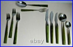 72 Piece 6 Pl Setting Joseph Rodgers Manhattan Cutlery Set Green Lucite Handles
