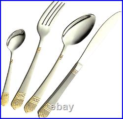 72pc Gold Trim Cutlery Set 18/10 Stainless Steel Quality Table Canteen Gift Xmas