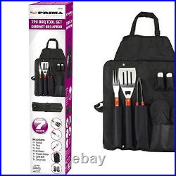 7pc Bbq Tool Set Barbecue Utensil Camping Stainless Steel Apron Cutlery Fishing