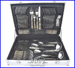 84 Piece Stainless Steel Gold Detail Supreme Quality Cutlery Table Canteen Set
