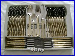 84 piece, Chrome Nickel steel with 23/24ct. Gold Plate, 12 Person Setting