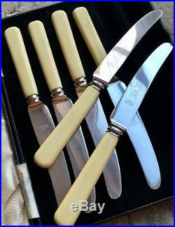 Antique Firth Brearley Stainless Steel Butter Knife Set With Bovine Bone Handles