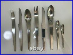 Arne Jacobsen Georg Jensen Matt Stainless Steel Designer Cutlery 6 places settin