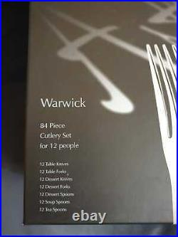 Arthur Price Warwick Stainless Steel Cutlery Set, 84 Piece/12 Place Settings