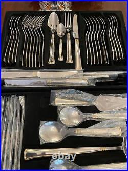 Bestecke solingen cutlery gold embellished Cobalt Finished. Eight Settings