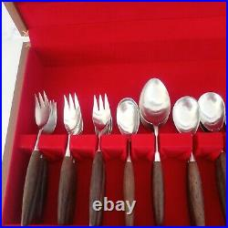 Butler Cutlery Set Vintage 1970's Sheba Design retro MCM teak rosewood canteen