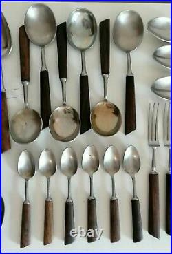 Butler Rosewood 1960s Mid Century Modern SET 35 Piece Vintage Retro MCM Cutlery