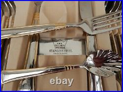 Canteen Cutlery Solingen Sbs Stainless Steel Gold Trim 87pcs Set In Wood Cabinet