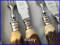 Cased Set Of Stag/Deer/Antler Handle Steak Knives & Forks Francis Howard Ltd