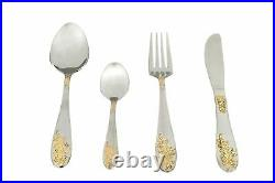 Cutlery- 86-pcs Set-luxury-stainless-steel-18-10gold-&-silver-in-wooden-box044