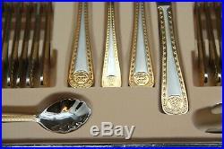 Cutlery Gold Steel Plated Baroque 72 Pieces 6 Pers Bicolor Medusa Meander Versac