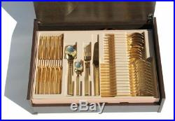 Cutlery Gold Steel Plated Baroque 75 Pieces 6 Pers. Grecha Medusa Meander Versac
