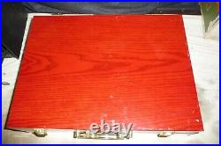 Cutlery stainless steel @80 pieces in RED 2 tier wood box 12 person set