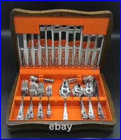 Heavy Vintage Kings Pattern 6 Place Setting And Extras Stainless Steel 68 Pieces
