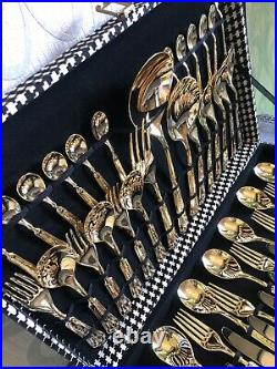 LBL 24 carat Gold Plated Vintage 51 Piece Cutlery Set Italy EP ZINC New