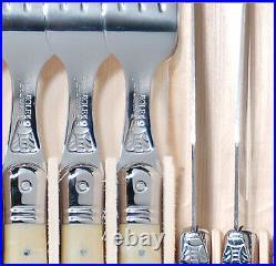 Laguiole 12 piece Steak Knife and Fork Set Light Horn by Jean Dubost 1.5mm