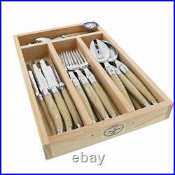 Laguiole 24 Piece Cutlery Set Maison by Jean Dubost Light Horn