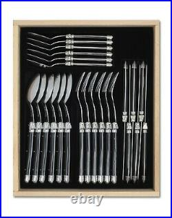 Laguiole 24 Piece Cutlery Set Tableware Canteen in Luxury Black Tray Black/SS