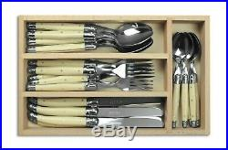 Laguiole 24 Piece Cutlery Set Tableware Stainless Steel and Ivory in Wooden Box