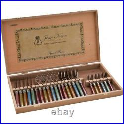Laguiole 24 Piece Cutlery Set Wooden Gift Box by Jean Neron Mixed Colour