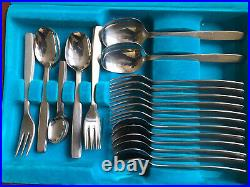 Midcentury Canteen Vintage Viners Chelsea Pattern Cutlery Six Settings 44-piece