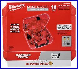 Milwaukee 49-56-9290 10pc Big Hawg Carbide Cutter Hole Saw Set Kit