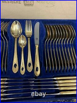 Rare Solingen Bestecke German 72 Piece Cutlery Set with Gold and Blue Detail
