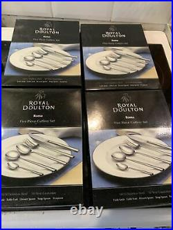 Royal Doulton Roma Five Piece Stainless Steel Cutlery Sets X4 Brand New Boxed
