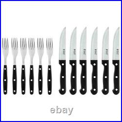 Russell Hobbs 12-Piece Steak Knife and Fork Set, Stainless Steel, Black