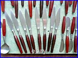Set of 48 Pieces Vintage Modernist 1970s Stainless Steel & Teak Cutlery From Ja