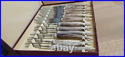 Set of 6 Stag Horn Antler Handle Steak Knives & Forks Harrison Fisher Trafalgar