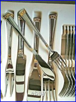 Solingen Canteen Of Cutlery Gold Plated 12 Settings 84 piece & Servers in case