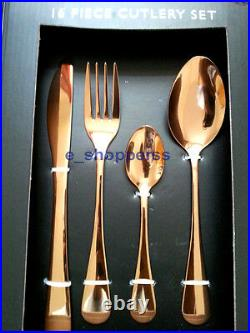 Stylish 16 Piece Rose Copper Cutlery Set Contemporary Kitchen Dining Cutlery Set