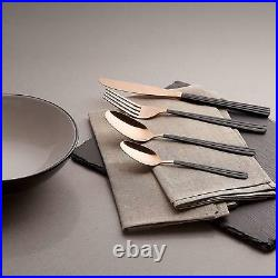 Tower 16pc Stainless Steel Cutlery Set In Black And Rose Gold T859001RB -New