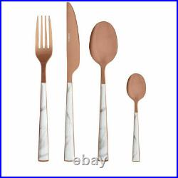 Tower T859002WR 16 Piece Stainless Steel Cutlery Set In White Marble & Rose Gold