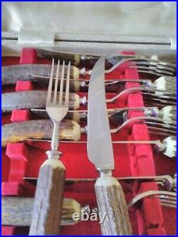 Unused Vintage Quality Antler Horn Handle Steak Knife Fork Cutlery Set Sheffield