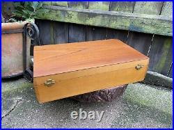 VINTAGE 1960s mid century GLOSSWOOD 54pc CUTLERY SET boxed chrome wood chrome