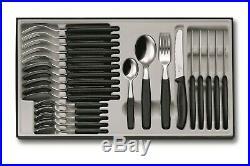 Victorinox 24 Piece Black Cutlery Set Knife, Fork & Spoons 6.7833.24 Swiss Made