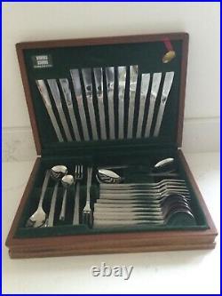 Viners Gerald Benney 1960s Studio 44 Piece Cutlery Set Wooden Canteen Bark NEW