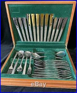 Viners Gerald Benney 1960s Studio 44 Piece Cutlery Set in Wooden Canteen