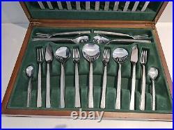 Viners Studio complete vintage 60s cutlery set canteen bark gerald benney x 58