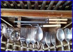 Vintage 41-piece stainless steel cutlery & carving set + wooden box (6 settings)
