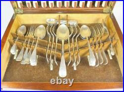 Vintage 44 pc LEE & WIGFULL Silver Plated Stainless Steel Cutlery Set Oak Box