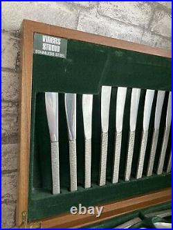 Vintage Gerald Benney Viners Studio Bark Stainless Steel Canteen Cutlery Set